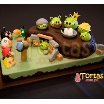 Lafrutita.com - Torta Angry Birds 01 - Codigo:ABR01 - Detalles: Torta Art�stica de 40cm x 30cm incluye un segundo nivel seg�n foto y personajes angry birds, incluye detalles de az�car seg�n imagen Torta a base de keke De Vainilla, relleno de manjar blanca y forrado en masa el�stica, todo el decorado tambi�n es a base de masa el�stica.  - - Para mayores informes llamenos al Telf: 225-5120 o 476-0753.