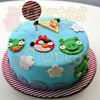 Lafrutita.com - Torta Angry Birds 05 - Codigo:ABR05 - Detalles: Torta Art�stica de 20cm de di�metro.  Incluye todos los dise�os seg�n imagen. Torta a base de keke De Vainilla, relleno de manjar blanca y forrado en masa el�stica.  - - Para mayores informes llamenos al Telf: 225-5120 o 476-0753.