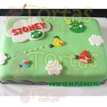 Lafrutita.com - Torta Angry Birds 06 - Codigo:ABR06 - Detalles: Torta Art�stica de 20cm x 30cm. Incluye todos los dise�os seg�n imagen. Torta a base de keke De Vainilla, relleno de manjar blanca y forrado en masa el�stica, todo el decorado tambi�n es a base de masa el�stica segun imagen, incluye nombre de hasta 7 letras  - - Para mayores informes llamenos al Telf: 225-5120 o 476-0753.