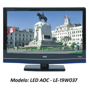 Deliregalos.com - TELEVISOR LED AOC - LE-19W50379 - Codigo:ADJ01 - Detalles: TELEVISOR LED AOC - LE-19W037 - TELEVISOR LCD DE 19 PULG. - TECNOLOGIA LED - RESOLUCION: 1366x768 - CONTRASTE : 2000000:1 - INGRESO A PC - ENTRADA HDMI (1) - VIDEOCOMPONENTE - SALIDA DE AUDIO/VIDEO - GARANTIA : 24 MESES  - - Para mayores informes llamenos al Telf: 225-5120 o 476-0753.