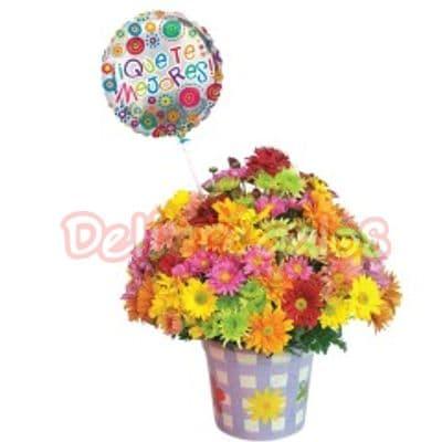 Deliregalos.com - Flores Recuperate Pronto - Codigo:AGT03 - Detalles: Lindo arreglo de flores en base especial, a base de flores multicolores, incluye goobo grande de mejorate pronto de 20cm de diametro y tarjeta de dedicatoria. - - Para mayores informes llamenos al Telf: 225-5120 o 476-0753.
