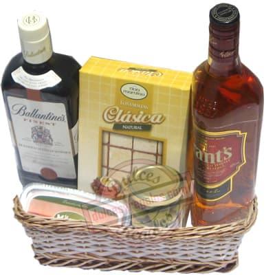 Deliregalos.com - Canasta A�o Nuevo 17 - Codigo:ANN17 - Detalles: Canasta de mimbre, incluyendo:  Tarjeta de dedicatoria, mo�o de regalo, sella para transporte. Contiene:  - 1 caja de tostaditas gourmet. - 1 Prosciutto con poro Le Mousse - Aceitunas Olivos del sur. - 1 Whisky Ballentines - 1 Whisky Grant  - - Para mayores informes llamenos al Telf: 225-5120 o 476-0753.