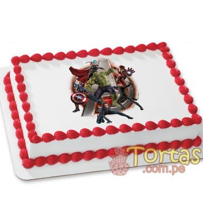 FotoTorta Avengers - Codigo:AVC01 - Detalles: Deliciosa Torta de Keke ingles bañada con manjar blanco y forrada con masa elastica. Incluye fotoimpresion de Avengers .  Tamaño 20x30cm - - Para mayores informes llamenos al Telf: 225-5120 o 4760-753.