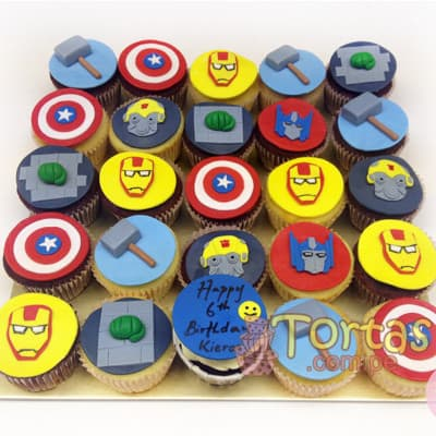 Cupcakes Avengers - Codigo:AVC11 - Detalles: Deliciosos Cupcakes de vainilla, con decoracion en azucar segun imagen. 25 unidades variadas segun imagen. - - Para mayores informes llamenos al Telf: 225-5120 o 4760-753.