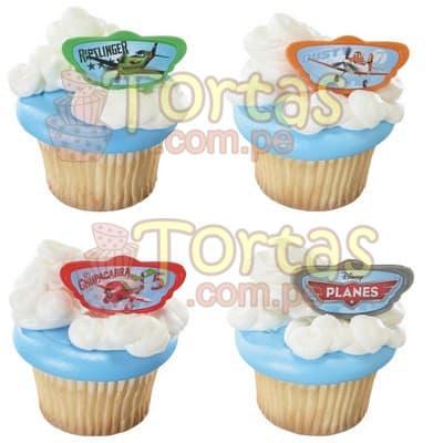 Muffins con adornos Aviones Disney - Codigo:AVN04 - Detalles: 4 muffins de vainilla con detalles comestibles de la película Aviones, las obleas con logotipo son comestibles y están impresas con tintes naturales. - - Para mayores informes llamenos al Telf: 225-5120 o 4760-753.