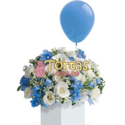 Tortas.com.pe - Arreglo Baby Boy 03 - Codigo:BBD03 - Detalles: Lindo Arreglo floral en base ceramica con flores de estacion segun imagen.  El presente incluye tarjeta de dedicatoria.  Incluye Globo de cortesia. - - Para mayores informes llamenos al Telf: 225-5120 o 476-0753.