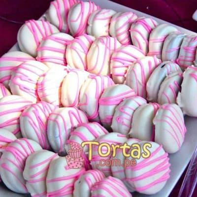 Alfajores Girl - Codigo:BBE01 - Detalles: Deliciosos 48 alfajores rellenos con exquisot manjar blanco, los alfafjores estan bañados con chocolate y adornados con tonos rosados,, especial para niñas  - - Para mayores informes llamenos al Telf: 225-5120 o 4760-753.