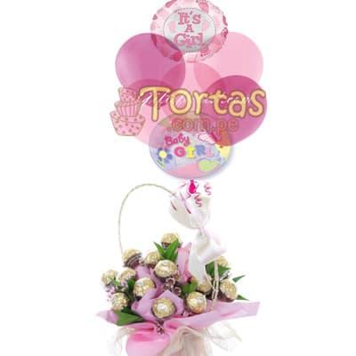 Arreglo Baby Girl - Codigo:BBE09 - Detalles: Gran Arreglo de una docena de chocolates elegantemente forrados en papeleria rosada, el presente viene en un envase de ceramica e incluye 5 globos rosados y 2 globos metalicos grandes de 20cm de diametro cada uno con el mensaje ES NIÑA.  - - Para mayores informes llamenos al Telf: 225-5120 o 4760-753.