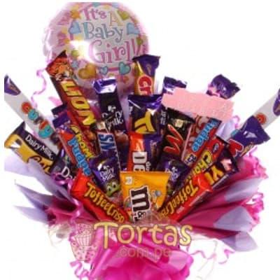 Especial Chocolates 10 - Codigo:BBE10 - Detalles: Ramo de chocolates importados, en variedad segun imagen. 16 barras en total incluye globo es  NIÑA y base de ceramica en colores rosadas - - Para mayores informes llamenos al Telf: 225-5120 o 4760-753.