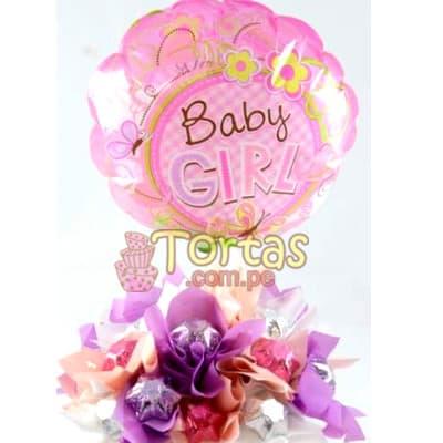 Arreglo Baby 12 - Codigo:BBE12 - Detalles: 10 chocolates finamente decorados segun imagen. y globo de 20cm de diametro con el mnensje ES NIÑA - - Para mayores informes llamenos al Telf: 225-5120 o 4760-753.