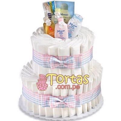 Torta Pañales06 - Codigo:BBL06 - Detalles: Lindo presente para recién nacidos, Torta de pañales a base de huggies 100 primeros dias, pañales ideales para recien nacidos. Torta a base de 30 pañales  Incluye base y decoración según imagen. Incluye aceite, algodon, limpiadores, shampoo.  - - Para mayores informes llamenos al Telf: 225-5120 o 4760-753.