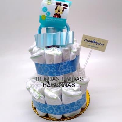 Torta Pañales 10 - Codigo:BBL10 - Detalles: Lindo presente para recién nacidos, Torta de pañales a base de huggies 100 primeros dias, pañales ideales para recien nacidos. Torta a base de 20 pañales  Incluye base y decoración según imagen. Incluye biberon  - - Para mayores informes llamenos al Telf: 225-5120 o 4760-753.