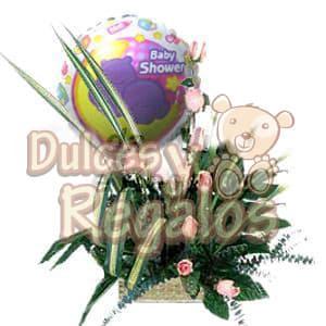 Arreglo Baby 01 - Codigo:BBS01 - Detalles: Hermoso detalle para un Baby Shower, precioso arreglo compuesto por 10 rosas en tono rosado, gracenia, follajes de estaci�n, globo con texto baby shower, ni�a o ni�o, incluye tambi�n una tarjeta de dedicatoria. Tono de rosas a elecci�n.  - - Para mayores informes llamenos al Telf: 225-5120 o 4760-753.