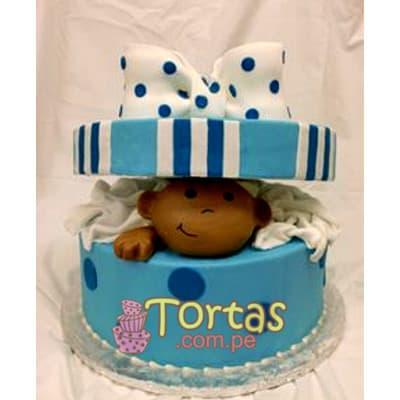 Torta Baby 02 - Codigo:BBT02 - Detalles: Torta a base de keke ingles bañado con manjar blanco y forrada con masa elástica. Tamaño:15cm de diametro, incluye cara en azucar y tapa forrada en masa elastica. - - Para mayores informes llamenos al Telf: 225-5120 o 4760-753.