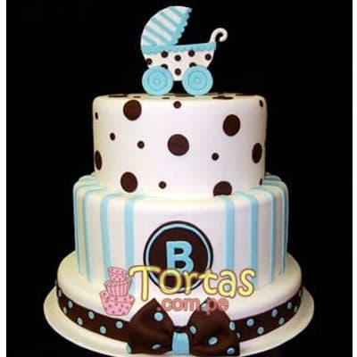 Lafrutita.com - Torta Baby 03 - Codigo:BBT03 - Detalles: Torta a base de keke De Vainilla ba�ado con manjar blanco y forrada con masa el�stica. Tama�o: primer piso 20cm de diametro el primer piso. y 15cm de diametro el segundo. Incluye coche en foto impresion no comestible - - Para mayores informes llamenos al Telf: 225-5120 o 476-0753.