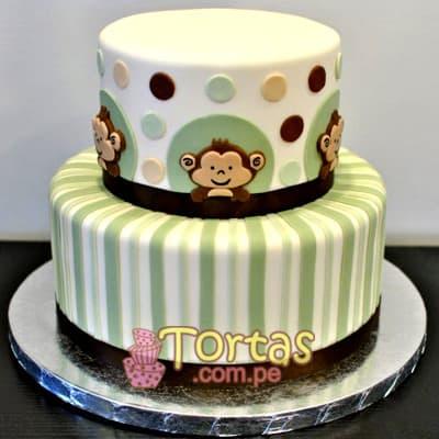 Torta Baby 06 - Codigo:BBT06 - Detalles: Torta a base de keke ingles bañado con manjar blanco y forrada con masa elástica. Tamaño: primer piso 20cm de diametro el primer piso. y 15cm de diametro el segundo. Incluye diseño de monitos - - Para mayores informes llamenos al Telf: 225-5120 o 4760-753.