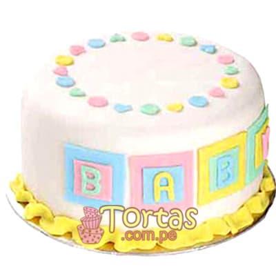 Torta Baby 10 - Codigo:BBT10 - Detalles: Torta a base de keke ingles bañado con manjar blanco y forrada con masa elástica. Tamaño: 10cm de diametro. Incluye letras baby - - Para mayores informes llamenos al Telf: 225-5120 o 4760-753.