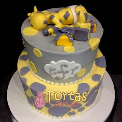 Torta Baby 15 - Codigo:BBT15 - Detalles: Torta a base de keke ingles bañado con manjar blanco y forrada con masa elástica. Tamaño: primer piso 20cm de diametro el primer piso. y 15cm de diametro el segundo. Incluye elefantito y globos de azucar - - Para mayores informes llamenos al Telf: 225-5120 o 4760-753.
