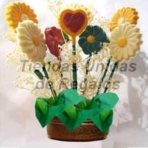 Lafrutita.com - Flores de chocolates 06 - Codigo:CHF06 - Detalles: Hermoso arreglo floral compuesto por 6 paletas de flores de colores y 1 paleta de corazon, todo en una linda base de ceramica, incluye tarjeta de dedicatoria. Este producto se realiza con 48 horas de anticipaci�n.    - - Para mayores informes llamenos al Telf: 225-5120 o 476-0753.