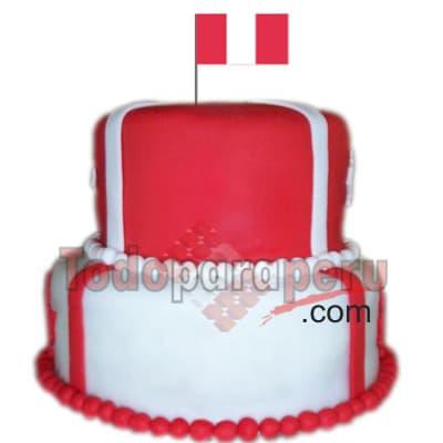 Torta Peru 08 - Codigo:CJP08 - Detalles: Deliciosa torta de 2 pisos, primer piso de 13cm de di�metro y segundo piso de 10cm de di�metro. Decorada en masa el�stica y con bandera peruana en la parte superior.  - - Para mayores informes llamenos al Telf: 225-5120 o 4760-753.