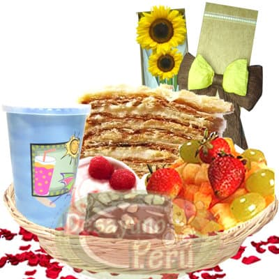 Mil Hojas con caja de Girasoles - Codigo:CJP24 - Detalles: Cesta de mimbre conteniendo, deliciosa ensalada de fruta, jugo de frutas, porci�n de chocolate, porci�n de yogurt, caja de 2 girasoles. Incluye de cortes�a postre de mil hojas. Incluye tarjeta de dedicatoria.  - - Para mayores informes llamenos al Telf: 225-5120 o 4760-753.
