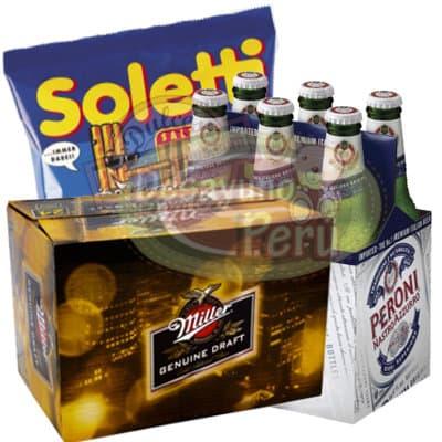 Pack de Peroni-Miller - Codigo:CJP30 - Detalles: 6 cervezas Miller y 6 cervezas Peroni, incluye pack de palitos Soletti. El pedido incluye tarjetas de dedicatoria. - - Para mayores informes llamenos al Telf: 225-5120 o 4760-753.