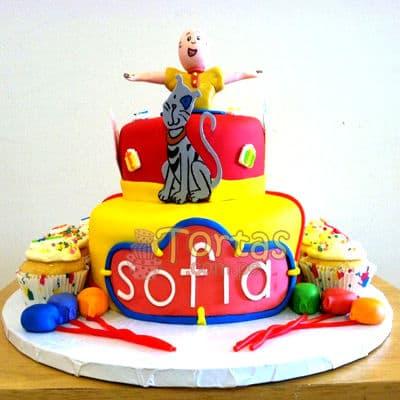 Torta Caillou 03 - Codigo:CLL03 - Detalles: Keke ingles relleno con frutas y pasas, el keke esta finamente decorado en masa elástica, Medidas: Primer piso de 25cm, segundo piso 15 cm,muñequito modelado,silueta en fotoimpresion,no incluye cupcakes - - Para mayores informes llamenos al Telf: 225-5120 o 4760-753.
