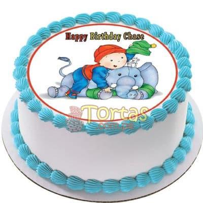 Torta Caillou 13 - Codigo:CLL13 - Detalles: keke ingles relleno con frutas y pasas, el keke esta finamente decorado en masa elástica, medida: 20 cm de diametro en fototorta - - Para mayores informes llamenos al Telf: 225-5120 o 4760-753.