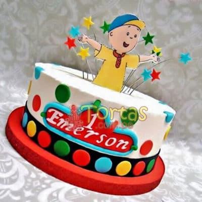 Torta Caillou 16 - Codigo:CLL16 - Detalles: keke ingles relleno con frutas y pasas, el keke esta finamente deocrada en mas elastica, medida: 15 cm de diametro, diseño según imagen, silueta en fotoimpresion no comestible - - Para mayores informes llamenos al Telf: 225-5120 o 4760-753.