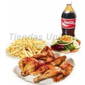 Pollo a la brasa - Codigo:CMD01 - Detalles: Riquísimo pollo a la brasa, abundantes papas fritas, ensalada, salsas diversas, ají, Coca cola de 1.5 litros. - - Para mayores informes llamenos al Telf: 225-5120 o 4760-753.