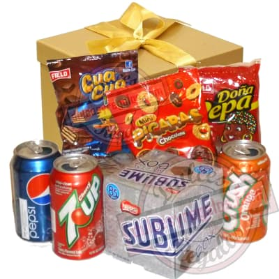 Deliregalos.com - Canasta Dulce 02 - Codigo:CNJ02 - Detalles: Caja de regalo conteniendo; 3 latas de deliciosa gaseosa, pepsi, 7up y crush, paquete de sublime, Mini-cuacua, Mini Picaras, Do�a Pepa. - - Para mayores informes llamenos al Telf: 225-5120 o 476-0753.