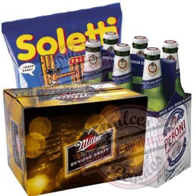 Pack Cerveza Importada - Codigo:CNJ11 - Detalles: 6 Pack Miller y Six Pack Peroni, incluye porcion de Soletti, Bocaditos Salados - - Para mayores informes llamenos al Telf: 225-5120 o 4760-753.
