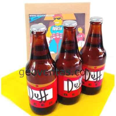 Lafrutita.com - Pack de 3 Duff - Codigo:DBA01 - Detalles: Cervezas Artesanales lager, claras y brillantes, tipo Pilsener. Tiene un contenido alcoh�lico de 5% y un contenido menor al 3.5% de carbohidratos. Botellas Personales de 330ml. Dise�o especial Duff, segun imagen.  Las cervezas vienen frias para su transporte. El presente incluye una caja de regalo sellada y tarjeta de dedicatoria. - - Para mayores informes llamenos al Telf: 225-5120 o 476-0753.