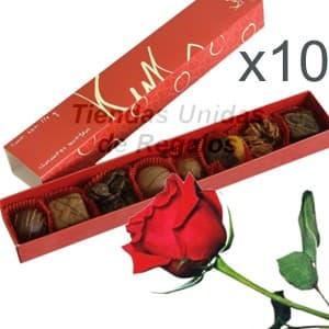 Regalos corporativos personalizados para colaboradores   Chocolates y rosas para regalo x 10 - Cod:DME04