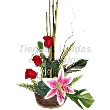 3 Rosas con Lilium - Codigo:ARL01 - Detalles: Arreglo Floral compuesto por Cesta de Mimbre, 3 rosas Rojas, follaje de estaci�n y Elegante Lilium Perfumado .  - - Para mayores informes llamenos al Telf: 225-5120 o 4760-753.