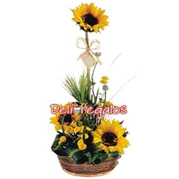 Deliregalos.com - Detalle de Girasoles - Codigo:AGG25 - Detalles: Delicado arreglo a base de 3 girasoles, flores y follaje de estacion, en base de canasta de mimbre.  - - Para mayores informes llamenos al Telf: 225-5120 o 476-0753.