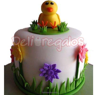 Lafrutita.com - Torta 07 de Pascua - Codigo:EAS07 - Detalles: Deliciosa torta de 10 cm de di�metro o cuadrada seg�n stock con la decoraci�n de acuerdo  la imagen. La torta es de queque De Vainilla relleno con manjar blanco y la decoraci�n en a base de masa el�stica, la base de la torta es de aluminio. El presente viene en papel celof�n. - - Para mayores informes llamenos al Telf: 225-5120 o 476-0753.