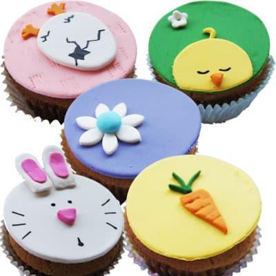5 Muffins Pascuas - Codigo:EAS13 - Detalles: Cupcakes de vainilla y chispas de chocolate con decoracion en masa elastica de pascua - - Para mayores informes llamenos al Telf: 225-5120 o 4760-753.