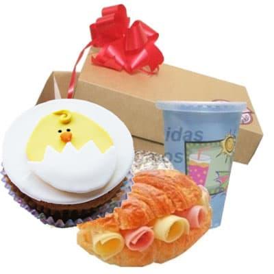Desayuno pasca 14 - Codigo:EAS14 - Detalles: Desayuno en caja, contiene jugo de frutos sandwich mixto y cupcake de pascuas - - Para mayores informes llamenos al Telf: 225-5120 o 4760-753.