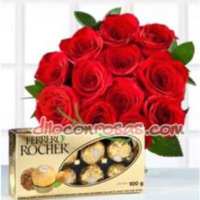 Diloconrosas.com - Espectacular ramo de 12 rosas importadas, chocolate ferrero rocher x 8 unidades. El presente incluye una tarjeta de dedicatoria. - Atendemos 24 horas. Llamar al 225-5120 o via Whatsapp: 980-660044