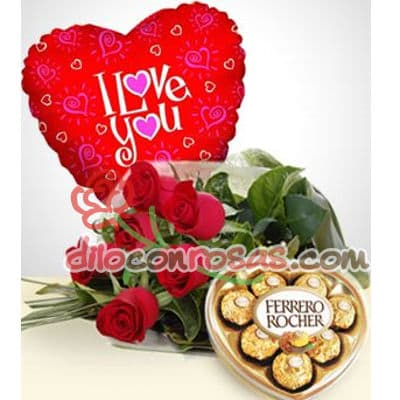 Diloconrosas.com - Ramo de 6 rosas importados, Ferrero Rocher de 8 unidades, globo grande de 20cm de diametro. - Atendemos 24 horas. Llamar al 225-5120 o via Whatsapp: 980-660044