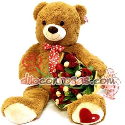 Diloconrosas.com - Peluche de casi 1 metro de altura, ramo con 24 Rosas Importadas. El presente incluye una tarjeta de dedicatoria. - Atendemos 24 horas. Llamar al 225-5120 o via Whatsapp: 980-660044
