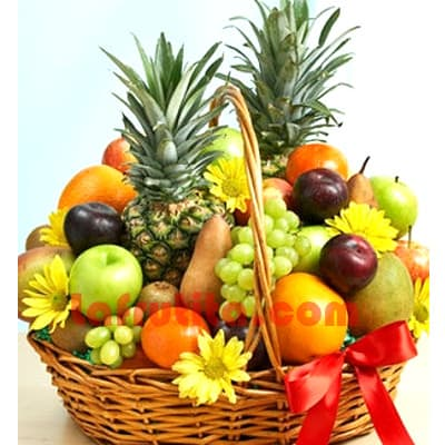 Lafrutita.com - Frutero Especial 02 - Codigo:FGR02 - Detalles: Cesta Grande conteniendo, 5 pl�ntanos, 4 manzanas, 2 pi�a, 2 racimos de uva, 4 peras, 4 kiwis, 2 mangos, 4 cerezas, 4 naranjas. El presente viene sellado al vacio para garantizar su frescura. Incluye Flores segun imagen. La foto de la cesta es referencia.   - - Para mayores informes llamenos al Telf: 225-5120 o 476-0753.