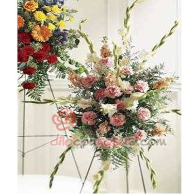 Tortas.com.pe - Lagrima con Pedestal - Codigo:FNB02 - Detalles: Lagrima con Pedestal compuesto Gladiolos en tonos rosados, flores rosas, pompones y follaje.  - - Para mayores informes llamenos al Telf: 225-5120 o 476-0753.
