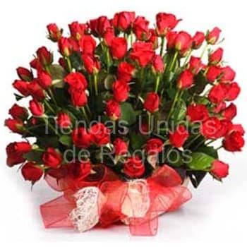 I-quiero.com - Elegancia de 60 rosas - Codigo:GCM01 - Detalles: Base de ceramica, 60 rosas importadas segun imagen. altura del arreglo de 70cm. Incluye tarjeta de dedicatoria y follaje de estaci�n. - - Para mayores informes llamenos al Telf: 225-5120 o 476-0753.