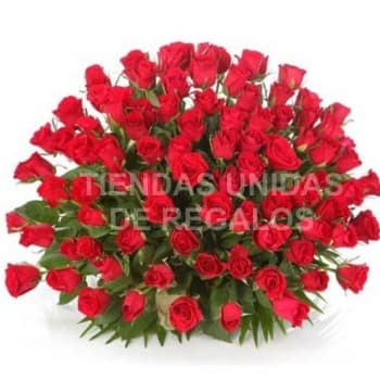 Gran arreglo de 100 Rosas - Codigo:AGP22 - Detalles: Base de ceramica, 100 rosas importadas segun imagen. altura del arreglo de 70cm. Incluye tarjeta de dedicatoria y follaje de estaci�n. - - Para mayores informes llamenos al Telf: 225-5120 o 4760-753.