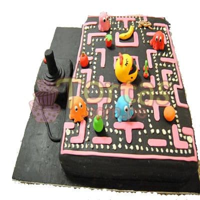 Torta Atari Vintage 16 - Codigo:JVD16 - Detalles: Torta hecha a base de queque ingles relleno de fruta confitada, pasas, bañado en manjar blanco, forrado y decorado en su totalidad con masa elástica. Mide  20 X30, mando en queque de 10x10. Incluye toda la decoración en masa elástica. Base forrada en masa elastica.  - - Para mayores informes llamenos al Telf: 225-5120 o 4760-753.