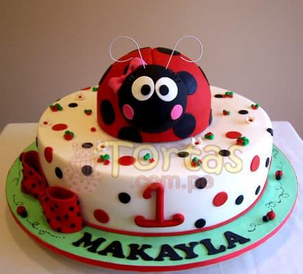 Diloconrosas.com -  Torta Mariquita 02 - Codigo:LBB02 - Detalles: Keke De Vainilla   el keke esta finamente decorado en masa el�stica, Medidas: 25 cm de diametro,mariquita forrada en masa elastica - - Para mayores informes llamenos al Telf: 225-5120 o 476-0753.