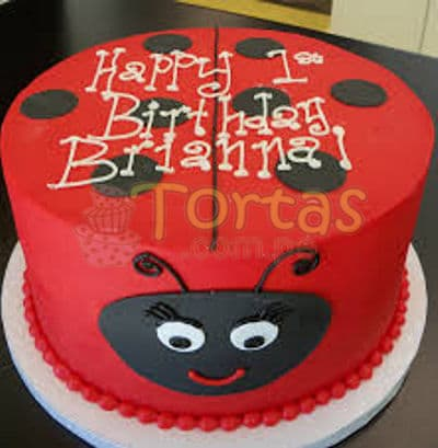 Diloconrosas.com - Torta Mariquita 06 - Codigo:LBB06 - Detalles: Keke De Vainilla   el keke esta finamente decorado en masa el�stica, Medida:20 cm de diametro, dise�o segun imagen - - Para mayores informes llamenos al Telf: 225-5120 o 476-0753.