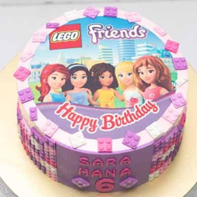 Tortas.com.pe - Torta Lego Friends 05 - Codigo:LGT16 - Detalles: keke De Vainilla   ba�ado en manjar y forrado en su totalidad con masa elastica, con las siguientes medidas: 20 cm de diametro ,  bloques modelados - - Para mayores informes llamenos al Telf: 225-5120 o 476-0753.